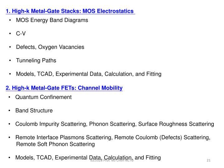 1. High-k Metal-Gate Stacks: MOS Electrostatics