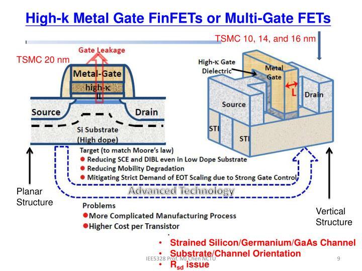 High-k Metal Gate FinFETs or Multi-Gate FETs