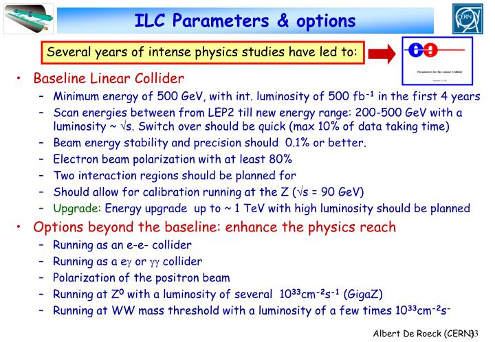 ILC Parameters & options