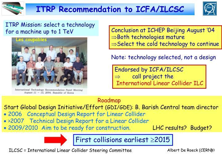 ITRP Recommendation to ICFA/ILCSC