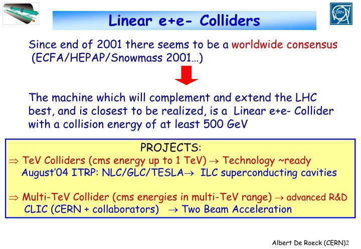 Linear e+e- Colliders