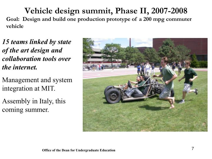 Vehicle design summit, Phase II, 2007-2008