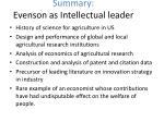 summary evenson as intellectual leader