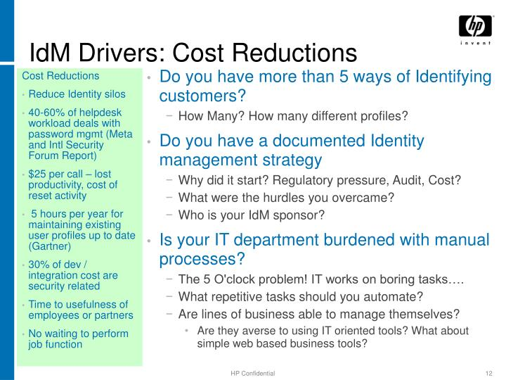 IdM Drivers: Cost Reductions