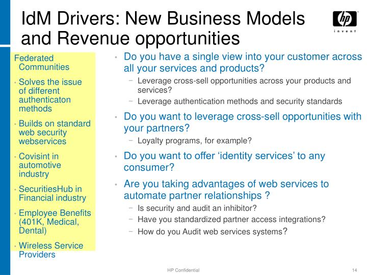 IdM Drivers: New Business Models and Revenue opportunities
