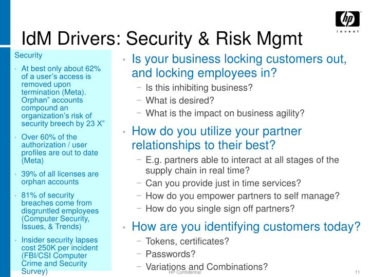 IdM Drivers: Security & Risk Mgmt