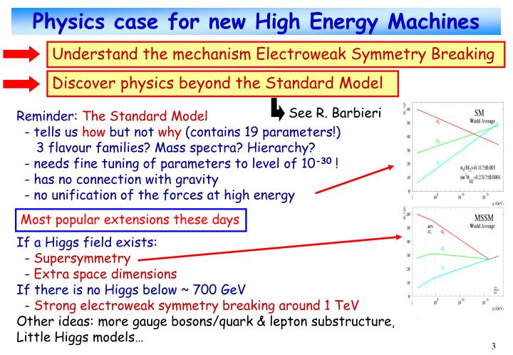 Physics case for new high energy machines