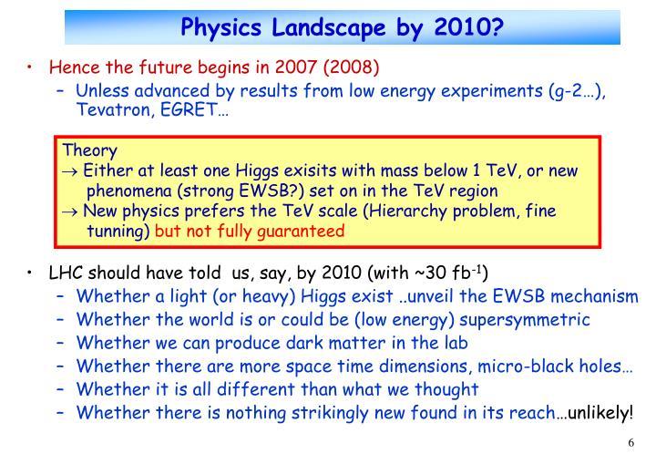 Physics Landscape by 2010?