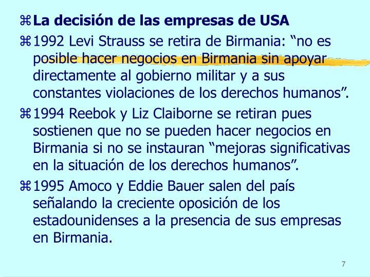 La decisión de las empresas de USA