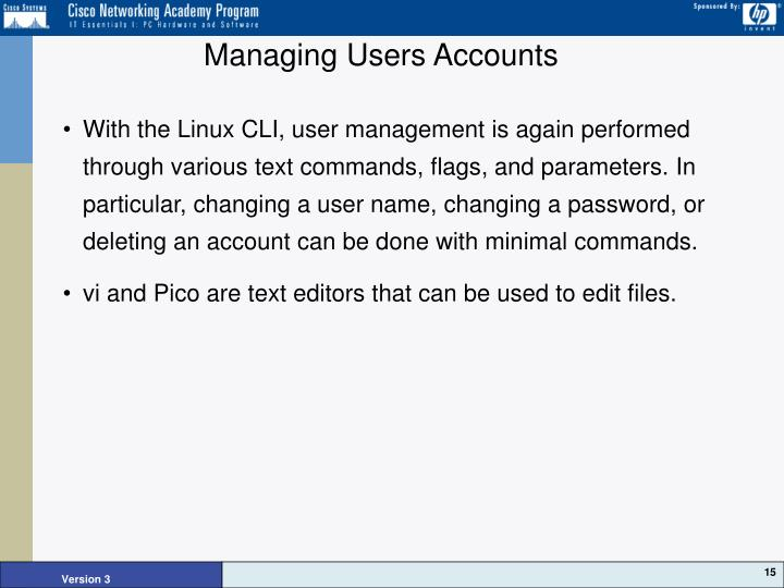Managing Users Accounts