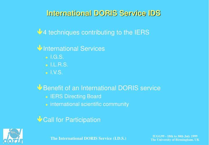 International DORIS Service IDS