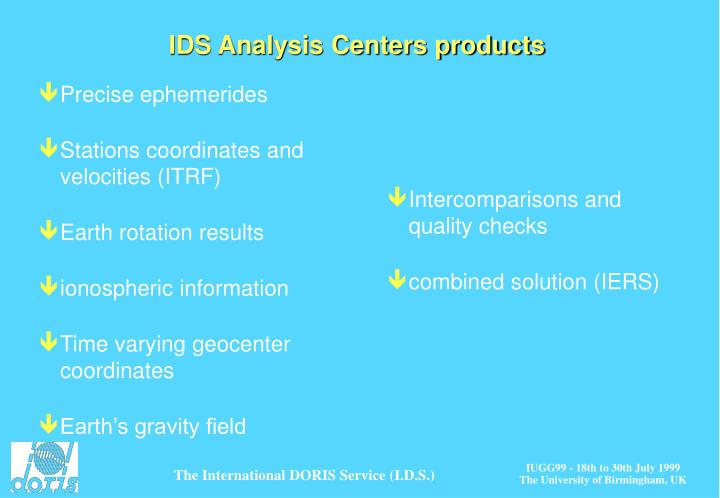 IDS Analysis Centers products