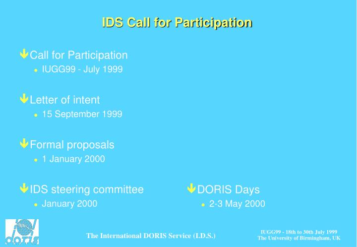 IDS Call for Participation