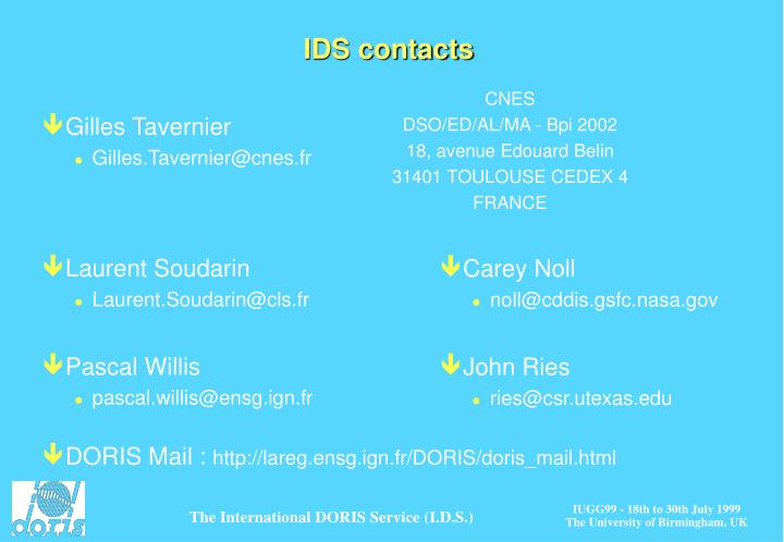 IDS contacts
