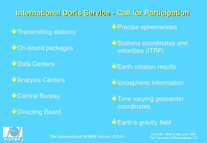 International Doris Service - Call for Participation