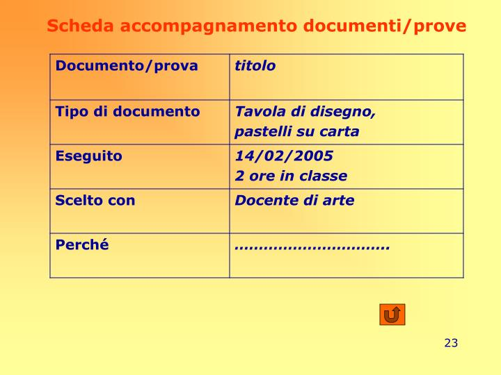 Scheda accompagnamento documenti/prove