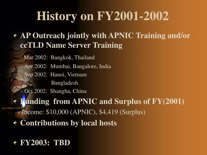 History on FY2001-2002
