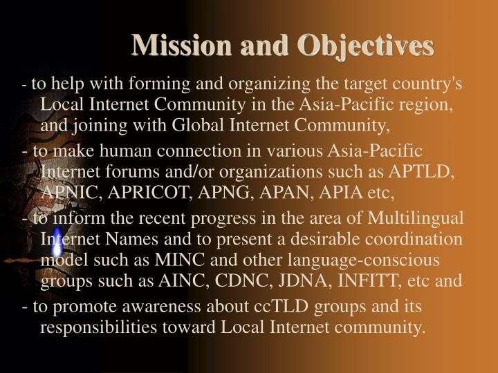 Mission and objectives1