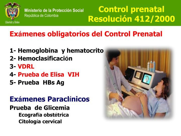 Control prenatal  Resolución 412/2000