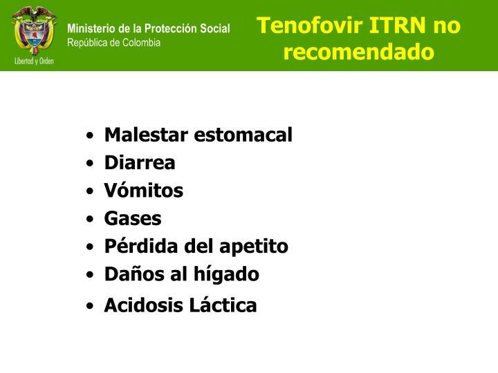 Tenofovir ITRN no recomendado