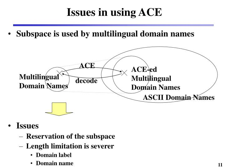 Issues in using ACE