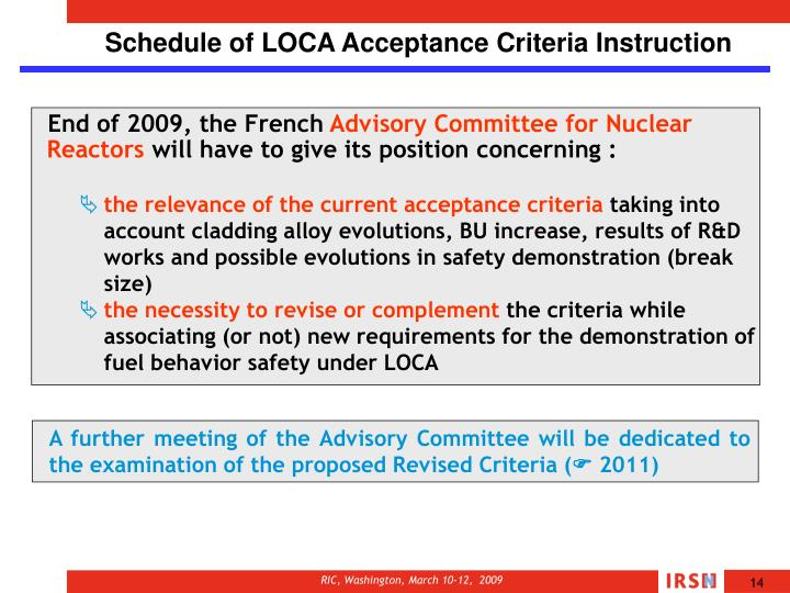 Schedule of LOCA Acceptance Criteria Instruction