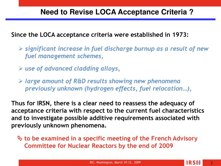 Need to Revise LOCA Acceptance Criteria ?
