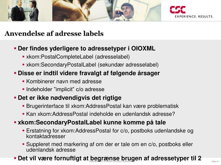 Anvendelse af adresse labels