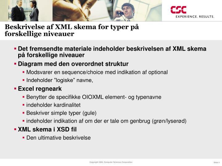 Beskrivelse af XML skema for typer på forskellige niveauer
