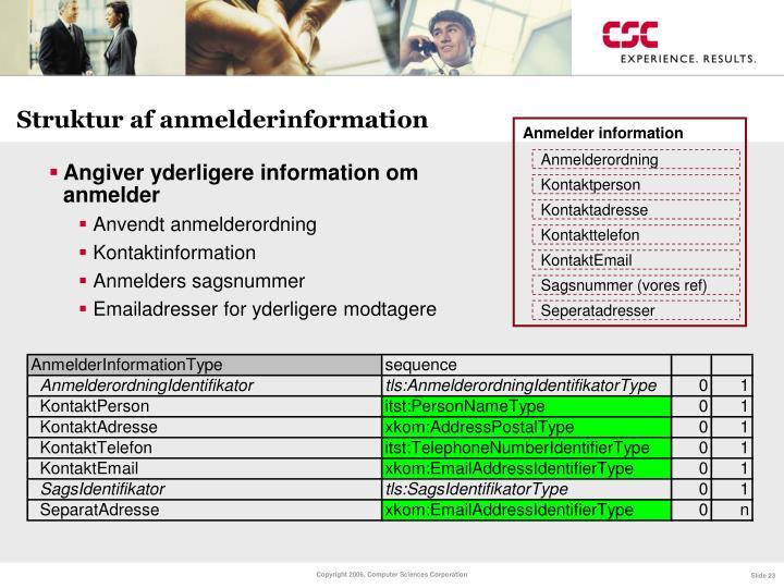 Struktur af anmelderinformation