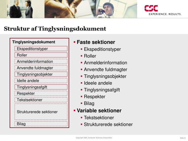 Struktur af Tinglysningsdokument