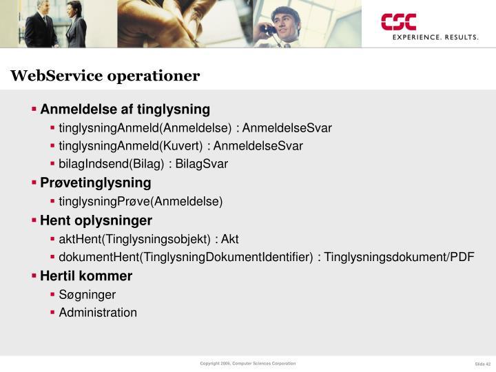 WebService operationer