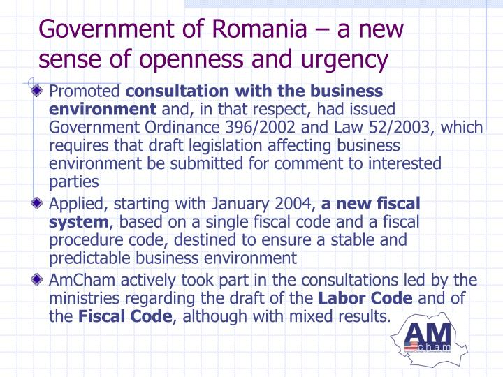 Government of Romania – a new sense of openness and urgency
