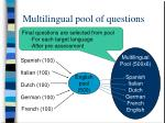 multilingual pool of questions