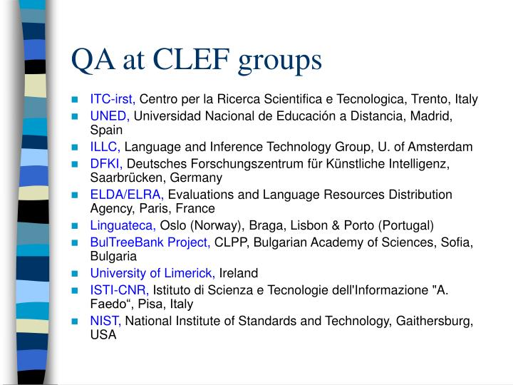 QA at CLEF groups