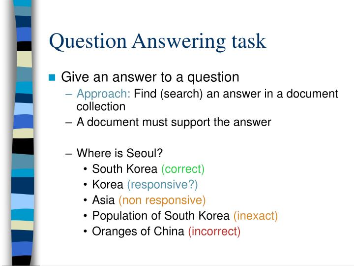 Question Answering task
