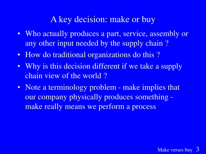 A key decision: make or buy