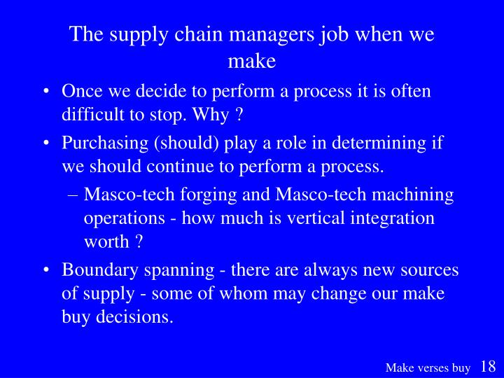 The supply chain managers job when we make