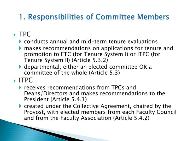 1 responsibilities of committee members