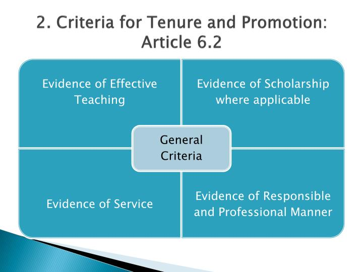 2. Criteria for Tenure and Promotion: Article 6.2