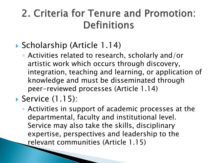 2. Criteria for Tenure and Promotion: Definitions