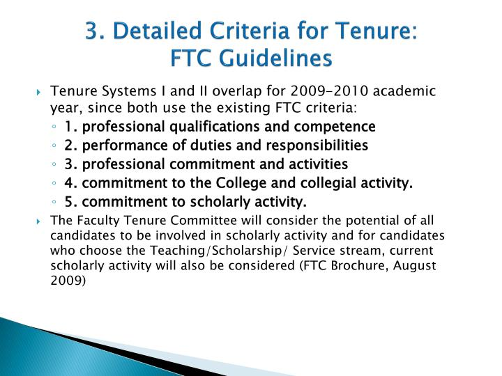 3. Detailed Criteria for Tenure: