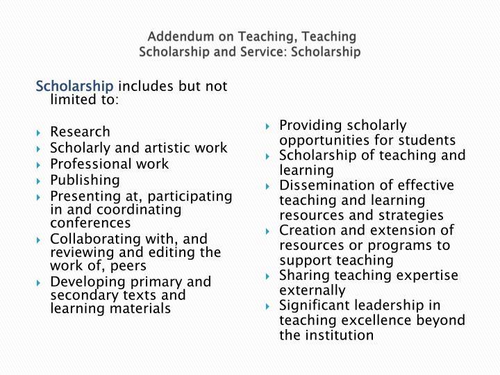 Addendum on Teaching, Teaching