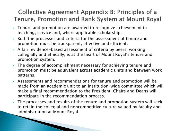 Collective Agreement Appendix B: Principles of a Tenure, Promotion and Rank System at Mount Royal