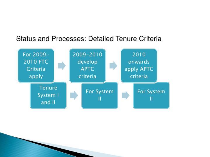 Status and Processes: Detailed Tenure Criteria