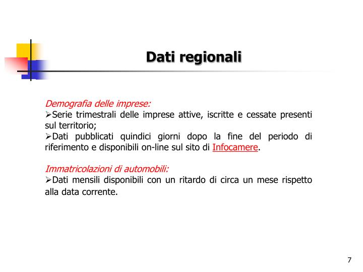 Dati regionali