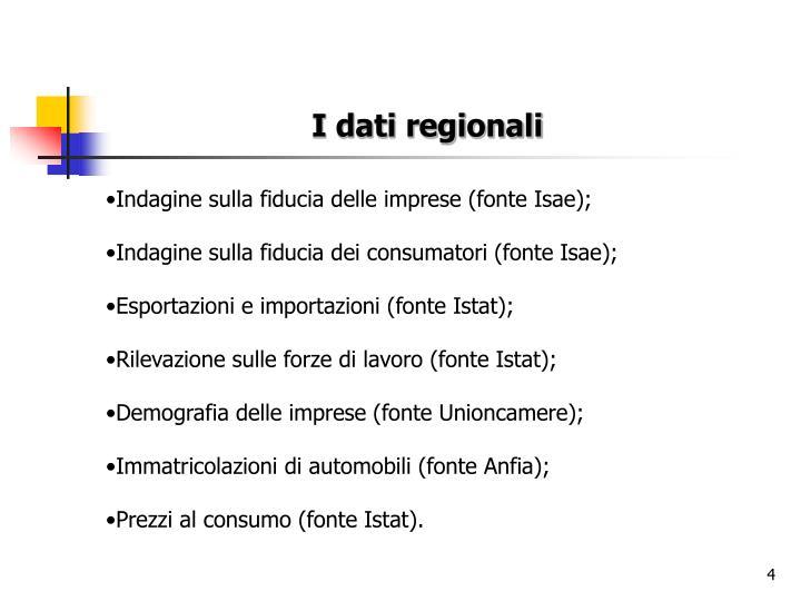 I dati regionali