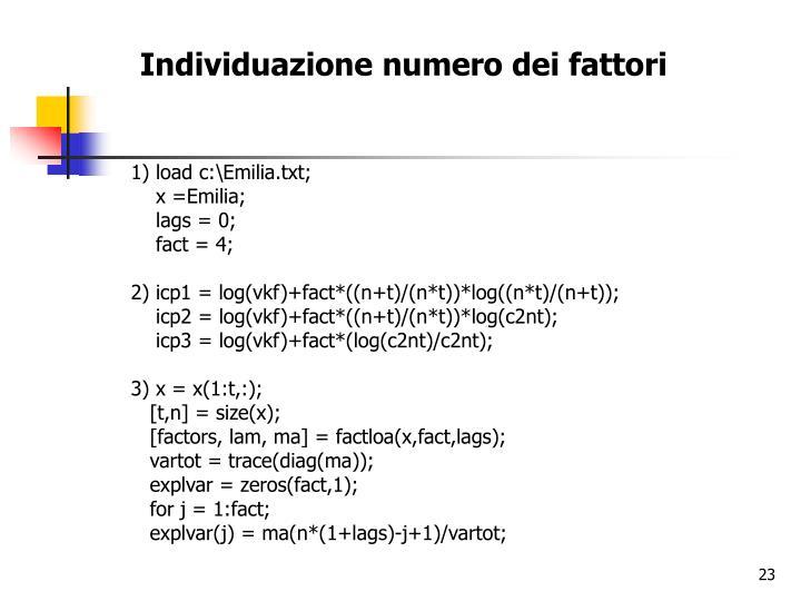 Individuazione numero dei fattori