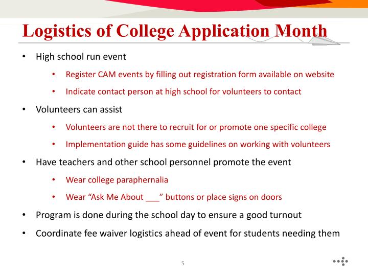 Logistics of College Application Month