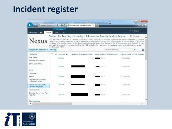Incident register